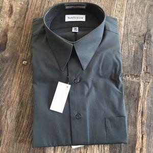 VanHeusen Slate Gray Button Down Poplin Shirt